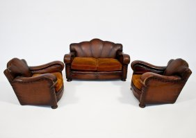 Salesman�s Model Of Two Leather Armchairs And Sofa