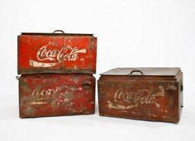 Three Vintage Metal Coca Cola Servers