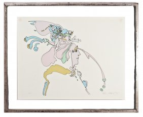 Rare Early Peter Max Serigraph On Paper