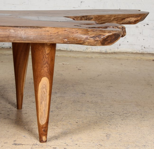Coffee Table Teak Live Edge: Free Edge Coffee Table, Teak Root And Resin : Lot 65
