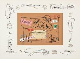 "Antonio Saura (spanish, 1930-1998) ""envie A D."