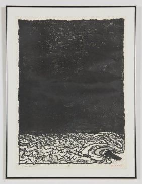 """Pierre Alechinsky (belgian, 1927) """"l'eau Dormante"""","""