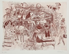 "William Gropper (american, 1897-1977) ""fantasy"" Etching"