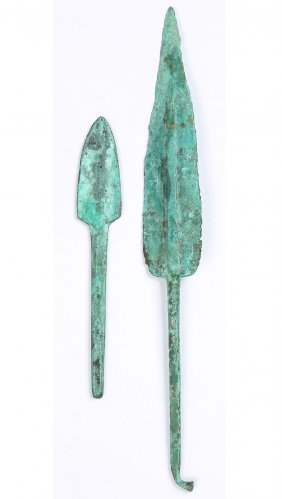 2 Ancient Bronze Spearheads