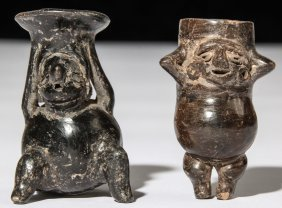 2 Pre Columbian Chimu Blackware Votives