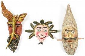 3 Vintage Mexican Dance Masks