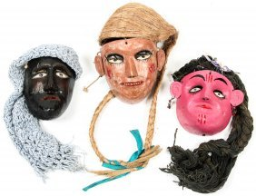 3 Vintage Mexican Dance Masks: Girl/woman