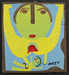 Mose Tolliver (1925-2006) Painting On Wood, 1991