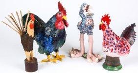 4 Folk Art Roosters