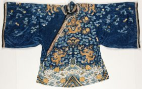 Antique Chinese Blue Silk Dragon Robe