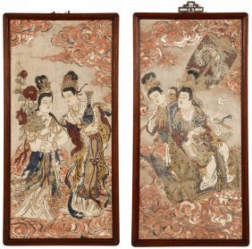 Two Antique Chinese Pigment On Clay Paintings