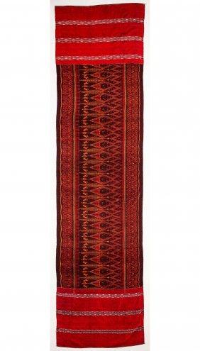 "Antique Cambodian Silk Ikat Panel: 34"" X 132"" (86 X 335"