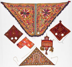 6 Old Embroidered Indian Textiles/animal Trappings