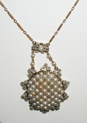 14k Rose Cut Diamonds & Pearl Necklace