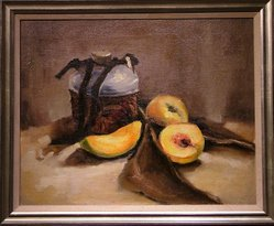 "Oil On Canvas ""Peaches And Pot"""