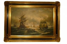 Dramatic Oil On Canvas Of Naval Scenes Stylized Dep