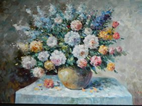 Dutch Style Floral Oil On Canvas
