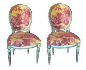 Pair Of Louis XVI Style Painted Chairs - Sister Pa