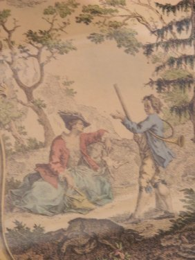 19th Century Framed French Hand-Colored Lithograph