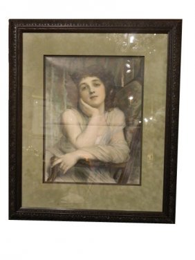 Antique Lithograph Of Winsome Lady, Circa 1900