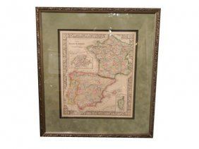 Antique Map Of France, Spain And Portugal.  Publis