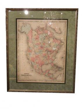 Johnson And Ward Atlas NORTH AMERICA Map, Publishe