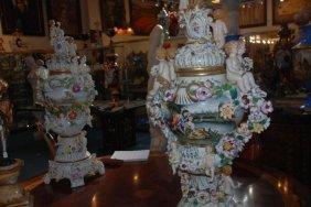 Pair Of German Porcelain Urns