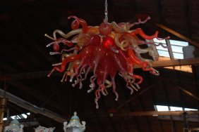 Multi-color Hand Blown Glass Chandelier