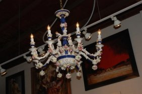 Porcelain Chandelier, Cobalt Blue