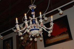 Porcelain Chandelier, Cobalt Blue
