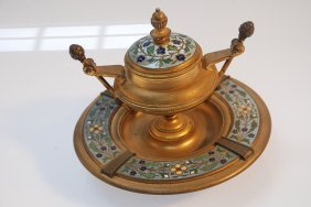 Antique French Gilt Bronze Champlev Enamel Inkwell.