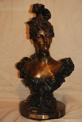 Verna Bust By Rigual, Bronze On Marble Base