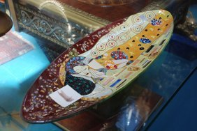 Mosaic Glass Tray Made In Italy By Gustav Klimt, Signed