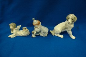 """2 Iladro Figurines, And A """"dog"""" Figure By Dao"""