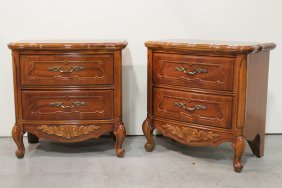 Pair Walnut French Provincial Bed Side Chests