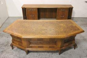 Large 2-section Burl Walnut & Oak Desk