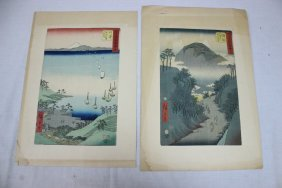 2 Japanese Woodblock Prints By Hiroshige