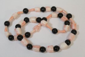 Coral And Black Onyx Necklace