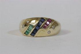 14k Y/g Ring W/ Diamond, Ruby, Sapphire, Emerald
