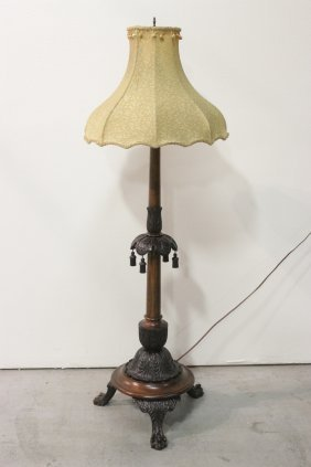 Victorian Mahogany And Walnut Floor Lamp