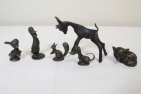 6 Vienna Miniature Bronze Sculpture, Some Signed