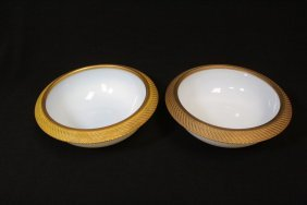 Pair French Opalescence Bowl W/ Heavy Bronze Rim