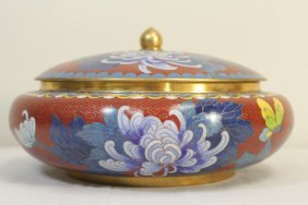 Chinese Large Cloisonne Covered Bowl