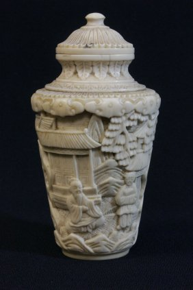 A Chinese 19th C. Beautifully Carved Ivory Snuff Bottle