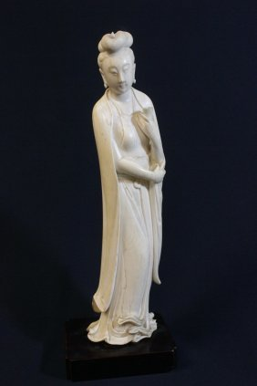 Chinese 19th Century Ivory Carved Court Lady