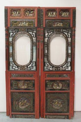 Pair Chinese Antique Lacquer Door Panels