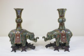 Pair Fine Chinese Antique Cloisonne Censers