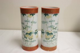 Pair Chinese Antique Famille Rose Hat Boxes