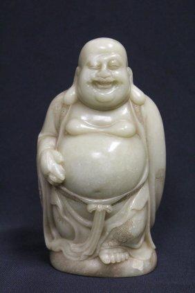 Fine Shoushan Stone Carved Standing Buddha