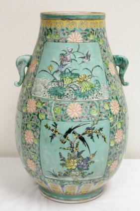 Chinese Green Background Famille Rose Porcelain Jar